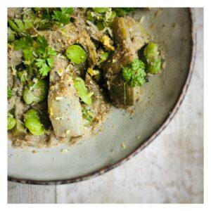 recette_ysabelle_levasseur_auteure_culinaire_nutritionniste_Fèves_artichaut_bagna_cauda_cerfeuil