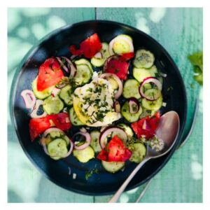 auteure_culinaire_ysabelle_levasseur_dieteticenne_salade_menthe_burrata_tomates